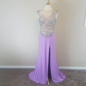 Rachel Allan Crystal Purple Dress